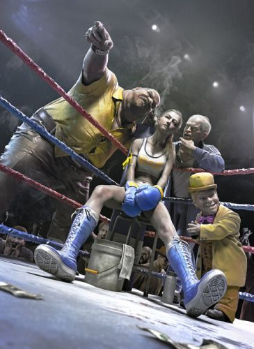 fantasy male and female boxers fighting ring wallpaper