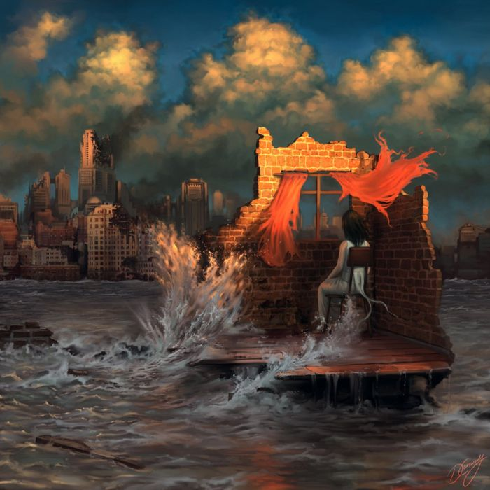 window female fantasy city flood disaster sky clouds wallpaper