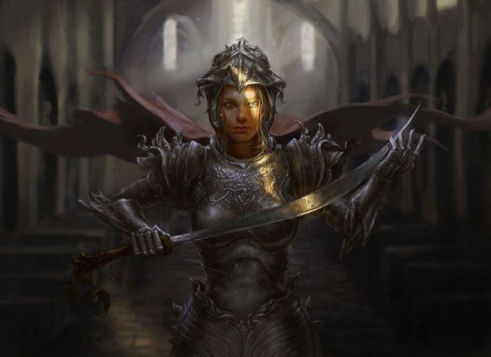 beauty fantasy woman warrior knight's sword blonde sunlight wallpaper