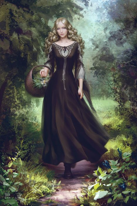 Fantasy Forest To Collect Flowers Princess Dress Long Hair