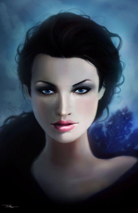 fantasy woman beautiful blue eyes long hair face wallpaper