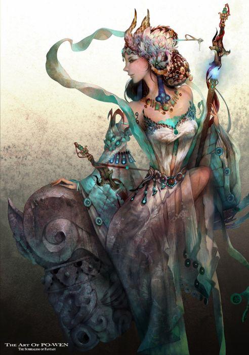 female beauty ornamental sword fantasy princess dress wallpaper