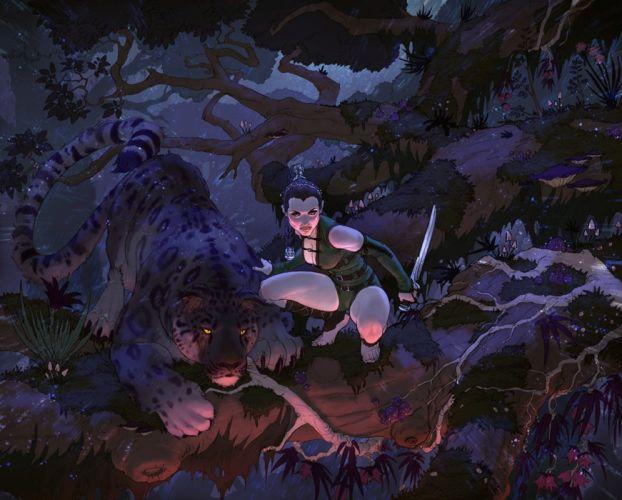 fantasy sword fighter cheetah female animal beauty forest wallpaper