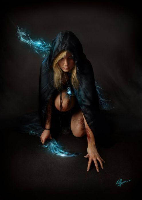 dark blonde female beauty fantasy magic sword wallpaper