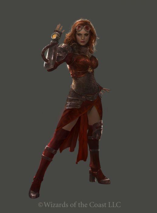 beauty red hair armor fantasy female fight wallpaper