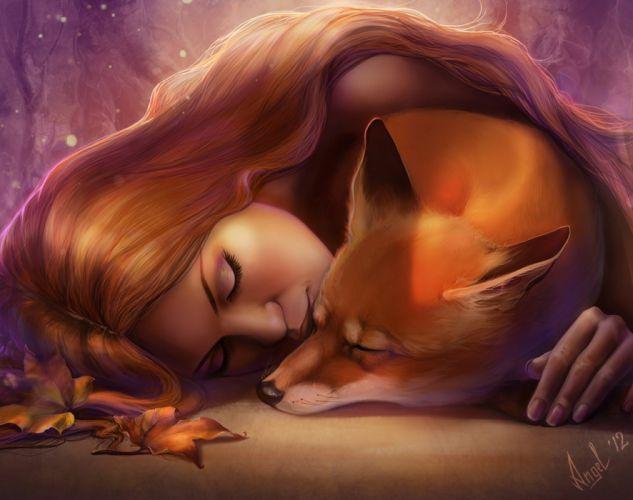 female fantasy animals beauty fox red hair wallpaper