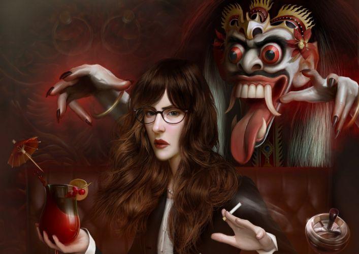 masked devil fantasy female beauty beverage cigarette long hair wallpaper