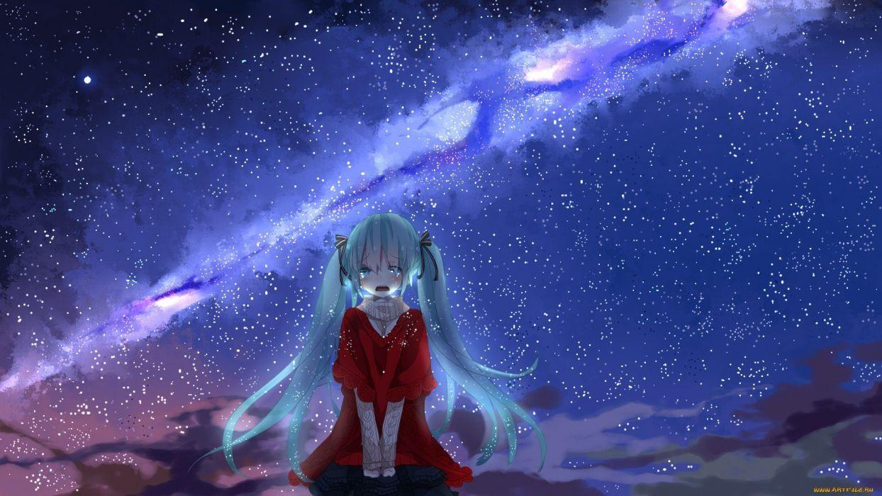 cry anime girl cute long blue hair beautiful sky stars wallpaper