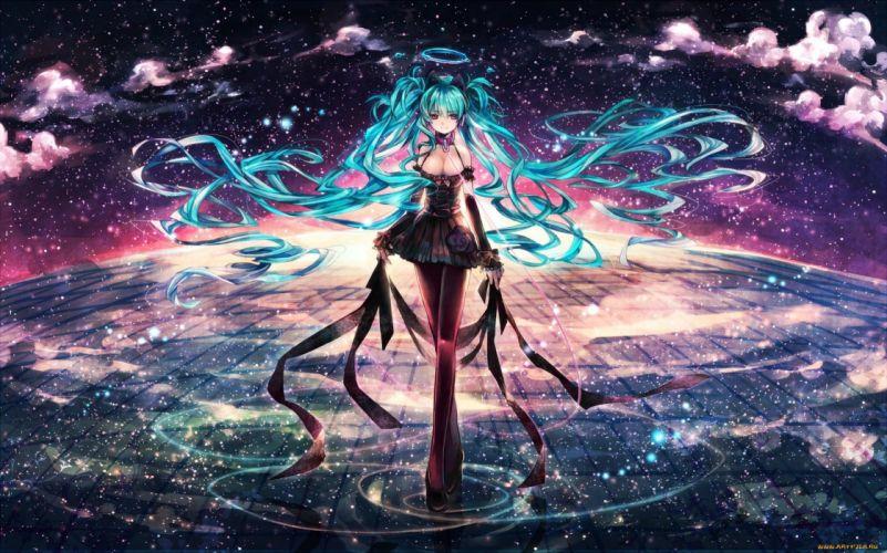 anime girl cute long blue hair beautiful sky stars dress vocaloid wallpaper