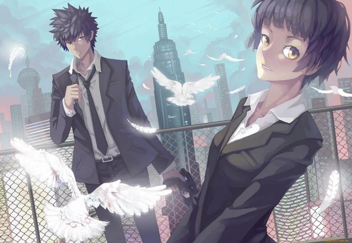 anime couple dove bird suit male short hair girl city weapon wallpaper