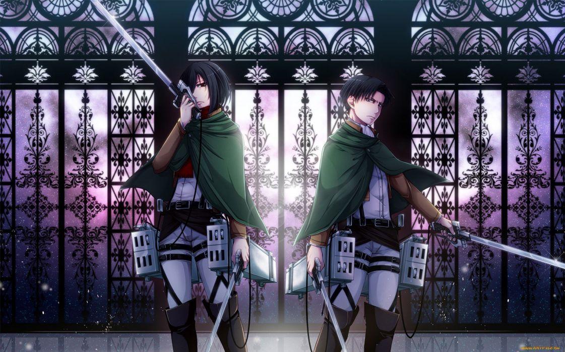 attack titan couple series anime girl male sword wallpaper