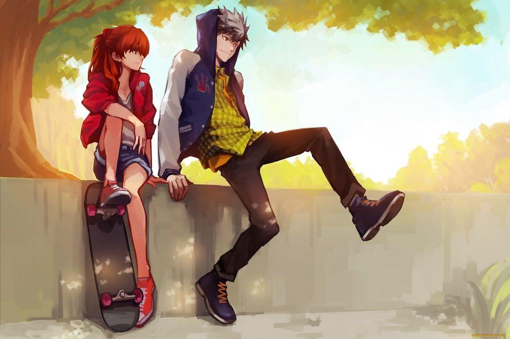 skateboard anime couple summer beauty wallpaper