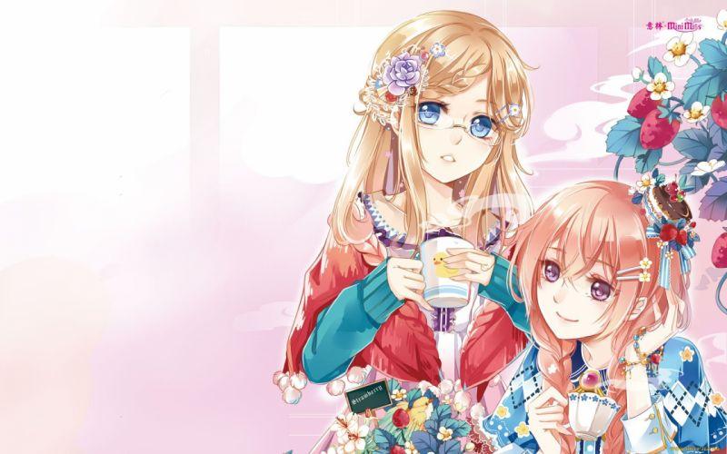Anime Beautiful Blue Cute dress flower Girl hair Long wallpaper