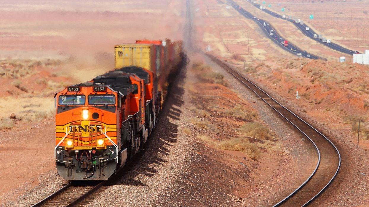 tren ferrocarril desierto carretera wallpaper