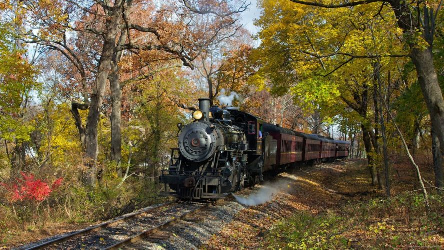 locomotora vapor naturaleza tren arboles wallpaper