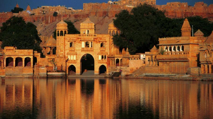 palacio india lago arquitectura wallpaper