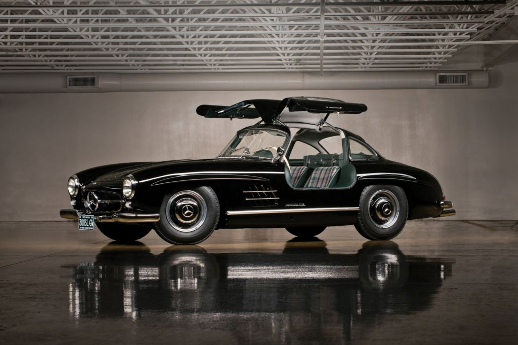 Mercedes Benz 300 SL (W198) cars black classic 1958 wallpaper