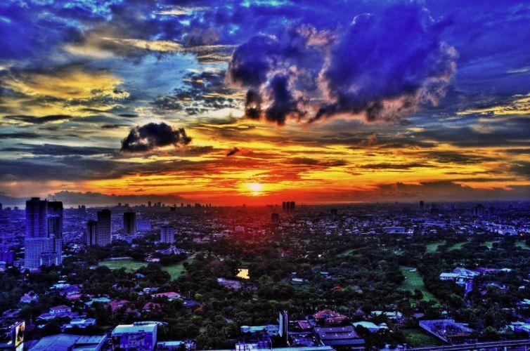 ciudad amanecer manila filipinas wallpaper