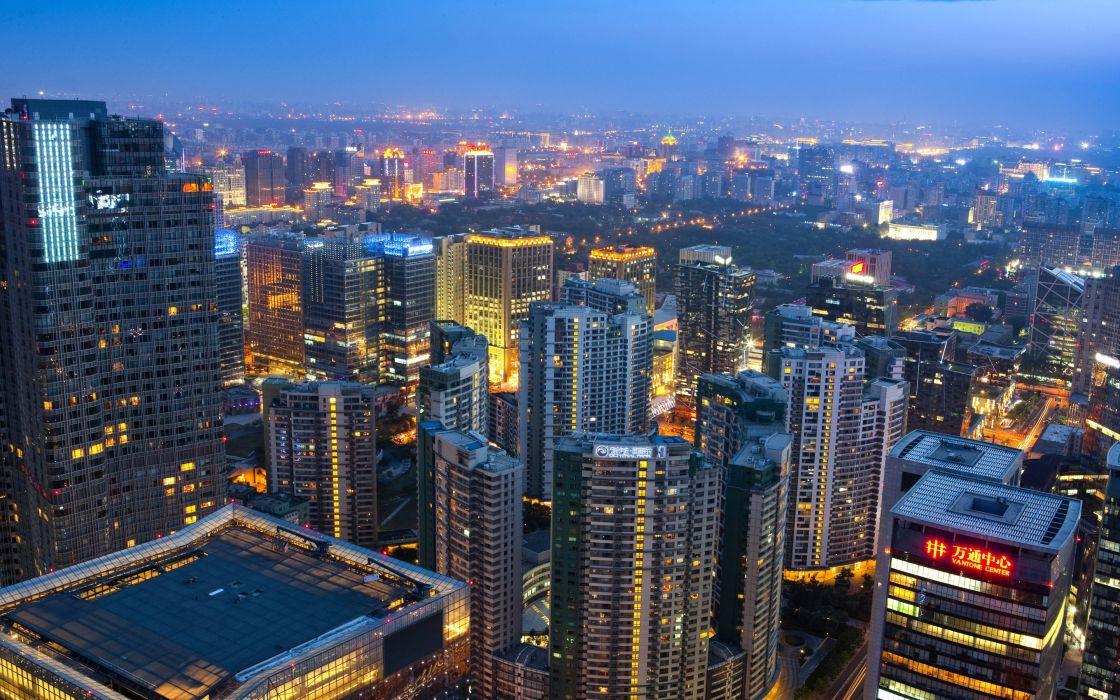 ciudad pekin china asia edificios luces wallpaper