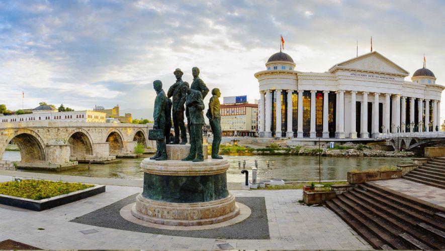 ciudad skopje macedonia europa estatua puente arquitectura wallpaper