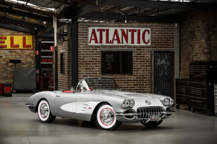 1958 chevy Corvette (c1) cars classic convertible white wallpaper