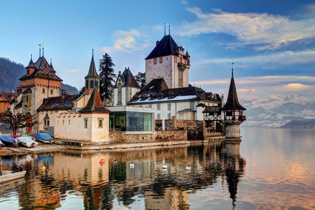 castillo oberhofen suiza lago arquitectura wallpaper