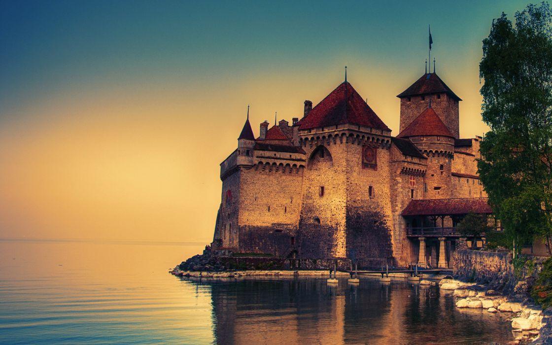 castillo ginebra suiza lago arquitecturas wallpaper
