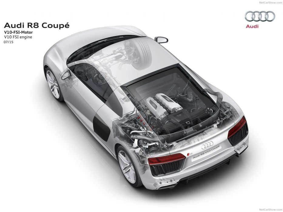 Audi R8 V10 plus cars cutaway wallpaper