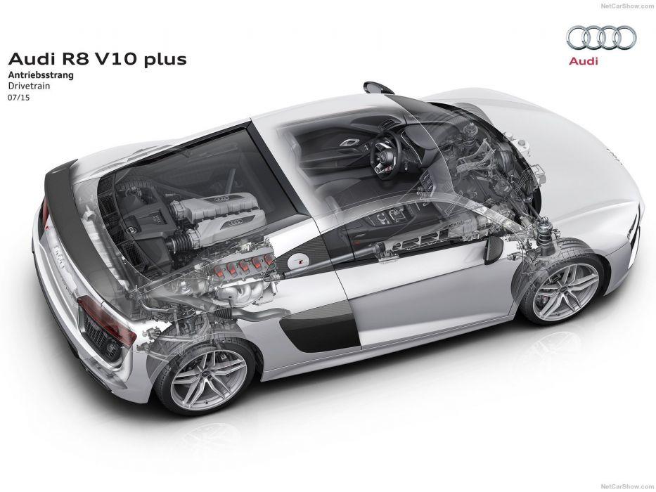 Audi R8 V10 plus cars cutaway wallpaper
