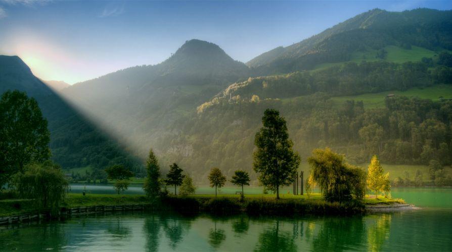naturaleza lago montaA wallpaper