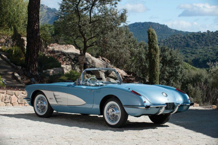 1960 Chevrolet Corvette (c1) convertible blue cars classic wallpaper