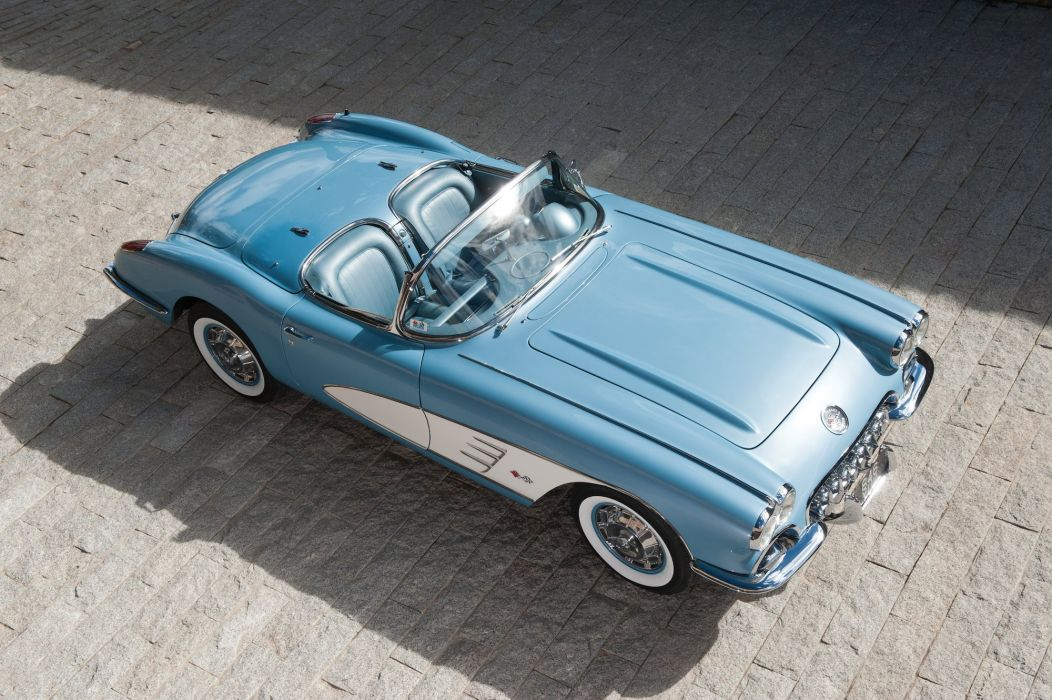1960 Chevrolet Corvette (c1) convertible blue cars classic wallpaper
