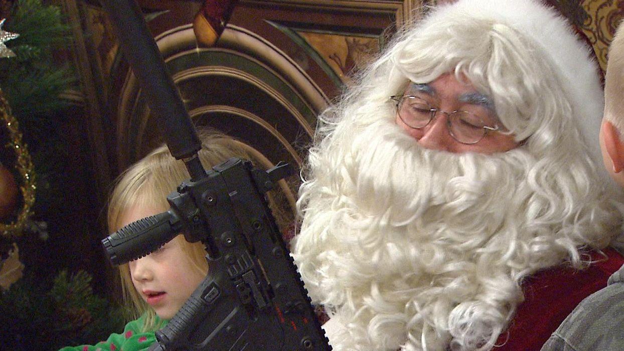 gun weapon guns weapons military machine gun assault rifle police swat christmas santa wallpaper
