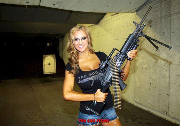 gun weapon guns weapons military machine gun assault rifle police swat sexy babe wallpaper
