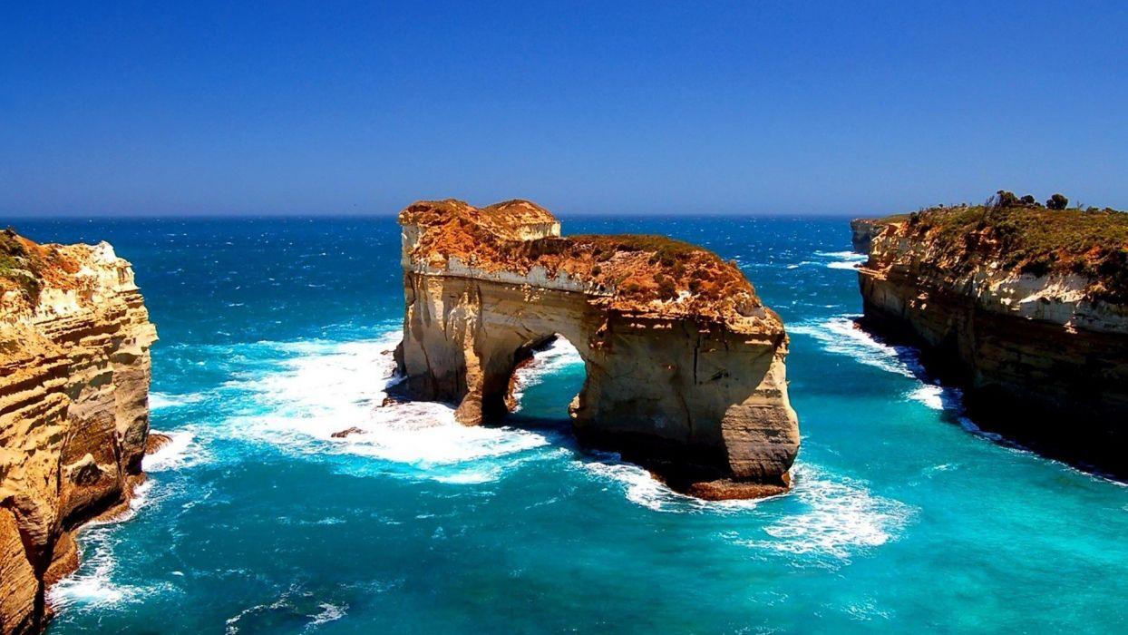 paisaje naturaleza mar rocas acantilados wallpaper