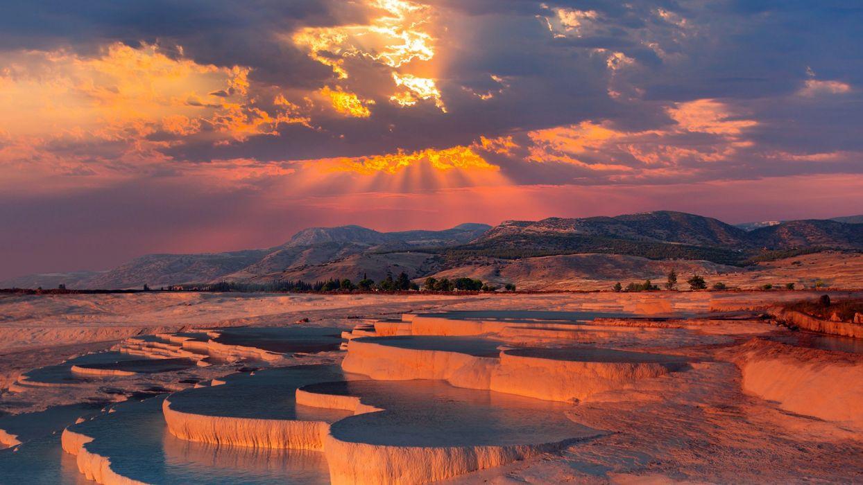 Pamukkale Tourism Landscape Beauty Sunset Is Amazing Turkey Wallpaper