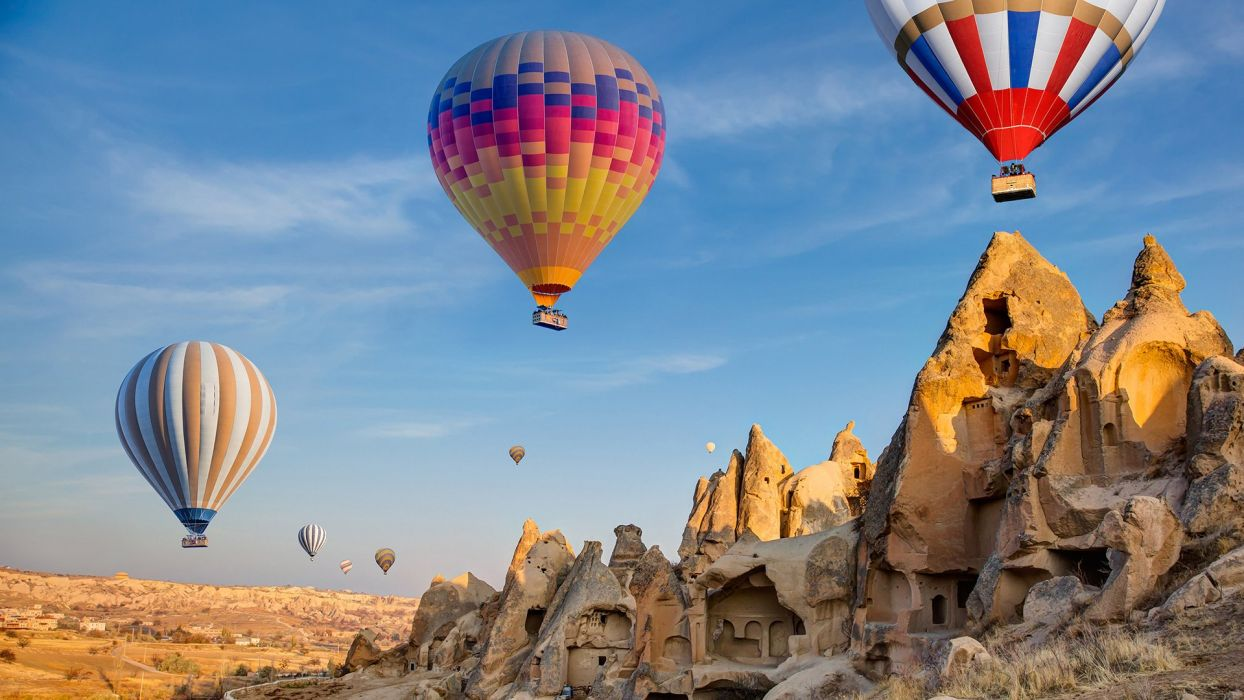 Urgup tourism landscape beauty is amazing fairy chimneys turkey vacation balloons sky wallpaper
