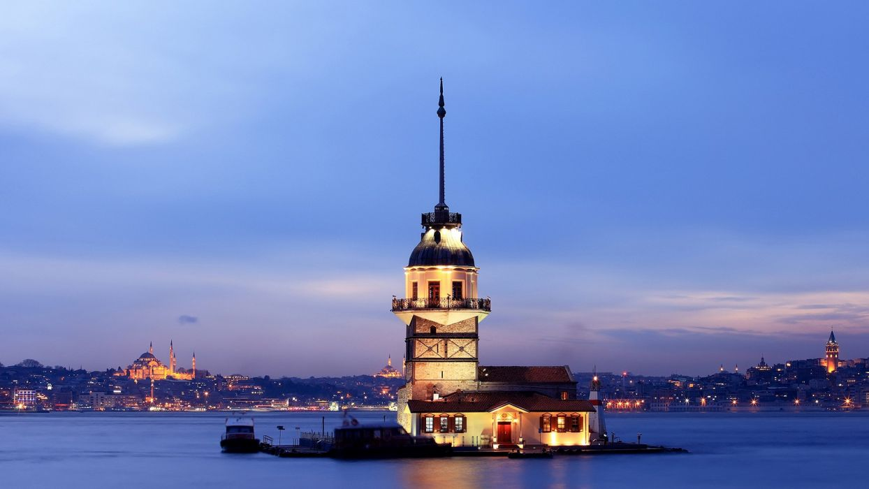 the beauty is amazing views of city lights sea tourism turkey istanbul blue wallpaper