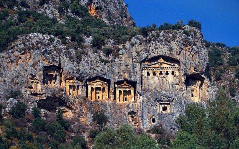 Turkey amazing mountain house landscape nature beauty wallpaper