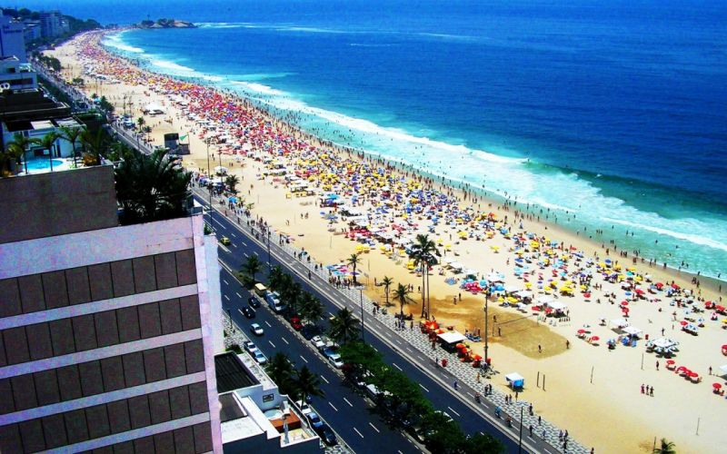 Copacabana amazing landscape nature beauty beach sky clouds city peoples summer wallpaper