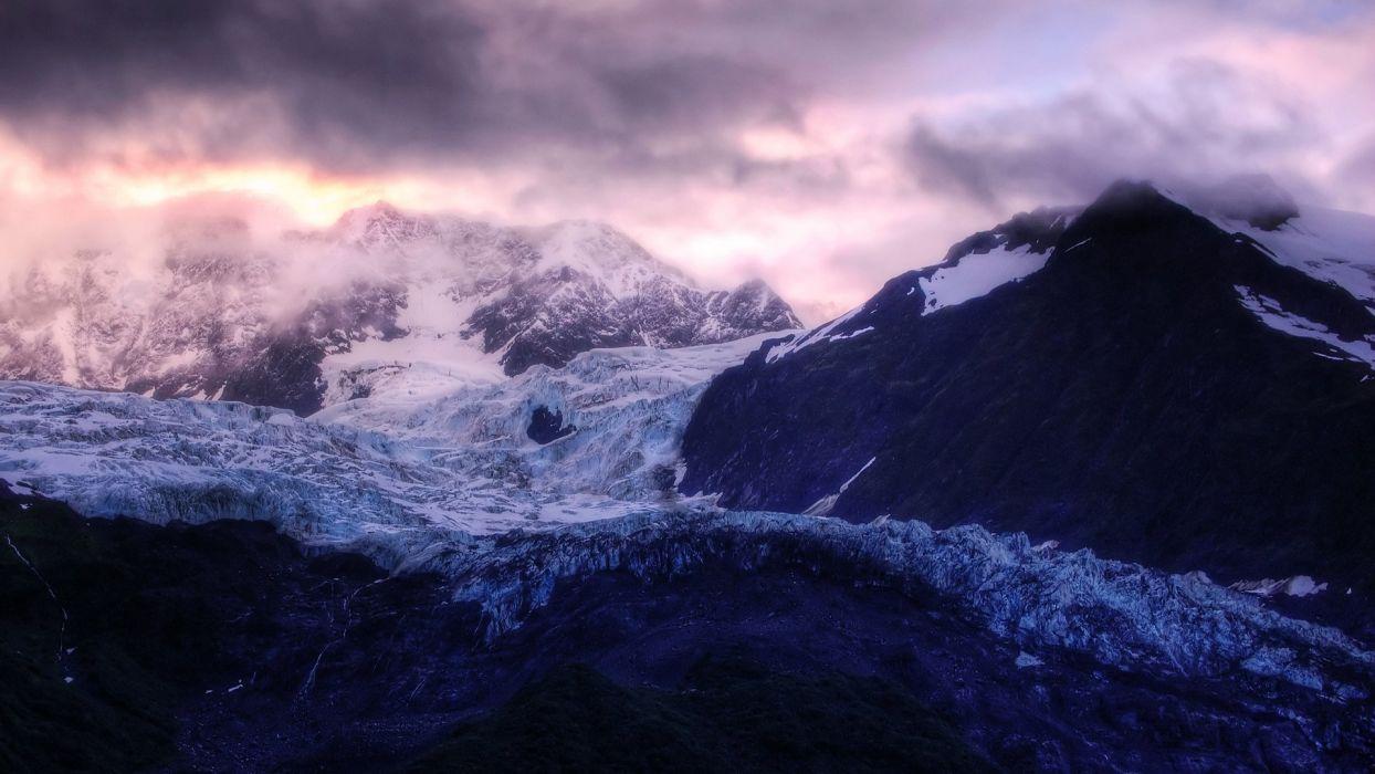 Winter mountain amazing landscape nature beauty snow sky clouds wallpaper
