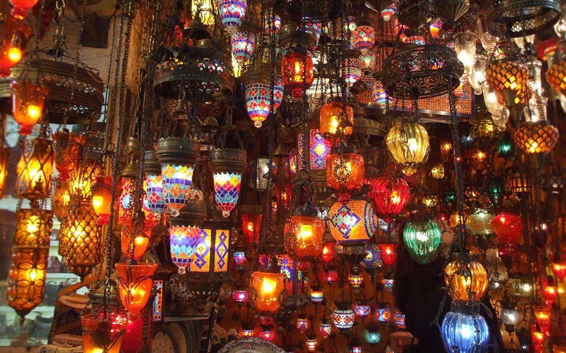 Turkey iatanbul lamp shop bazaar wallpaper