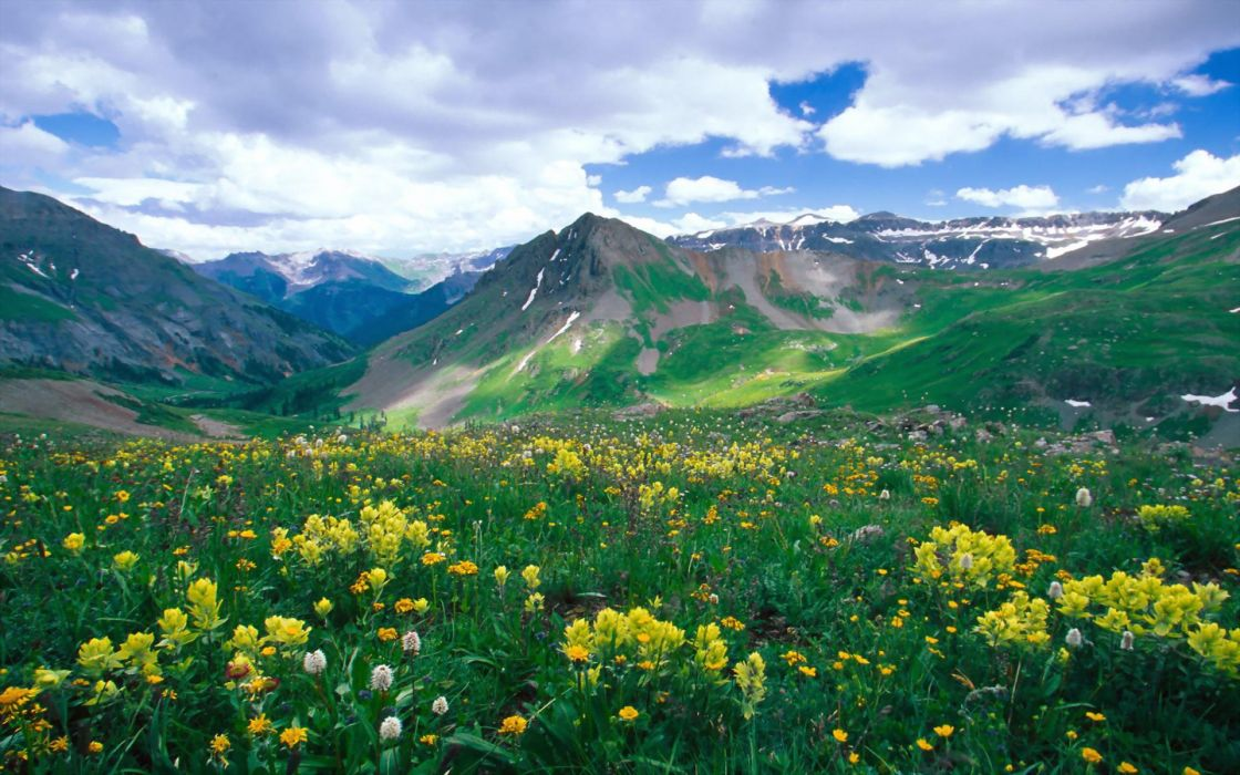 amazing landscape nature beauty mountain flower sky clouds wallpaper