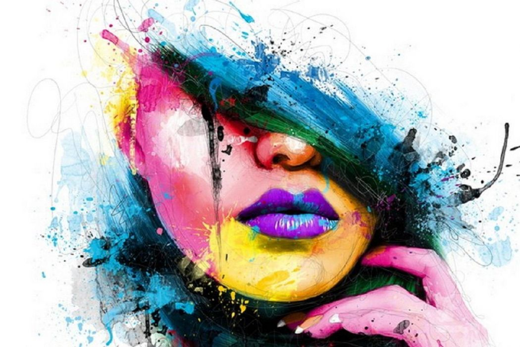 abstracto colores rostro mujer wallpaper