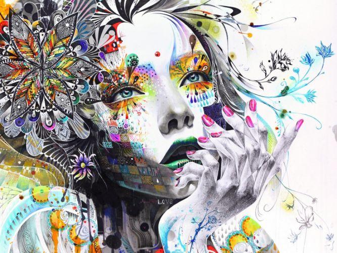 abstracto rostro mujer arte wallpaper