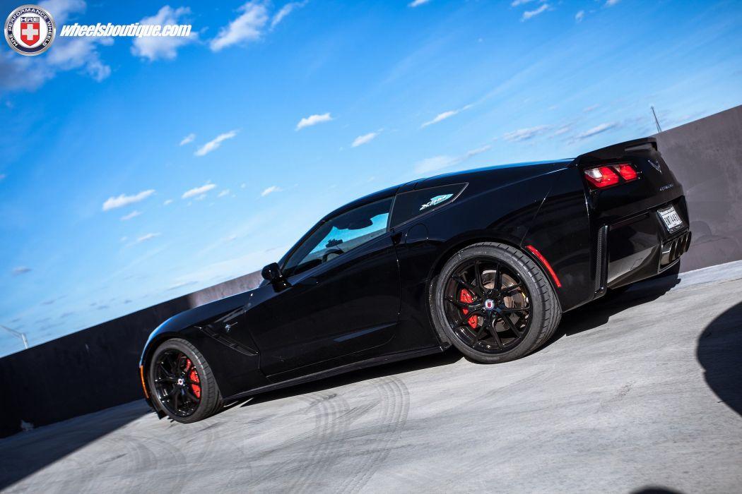 Chevrolet Corvette (C7) black cars HRE wheels wallpaper