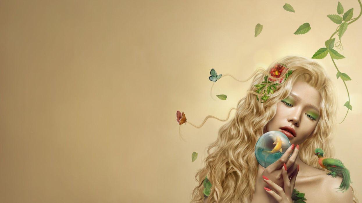 abstracto arte mujer flores wallpaper