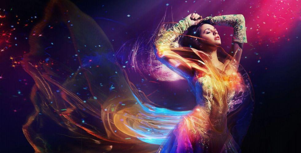 abstracto mujer fantasia colores wallpaper