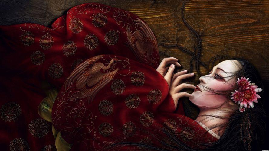 fantasy girl character beautiful long hair wallpaper