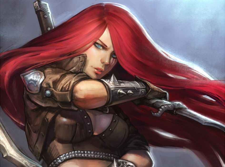 fantasy girl character beautiful long hair red wallpaper